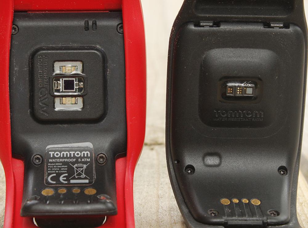 TomTom Spark HR sensors side by side